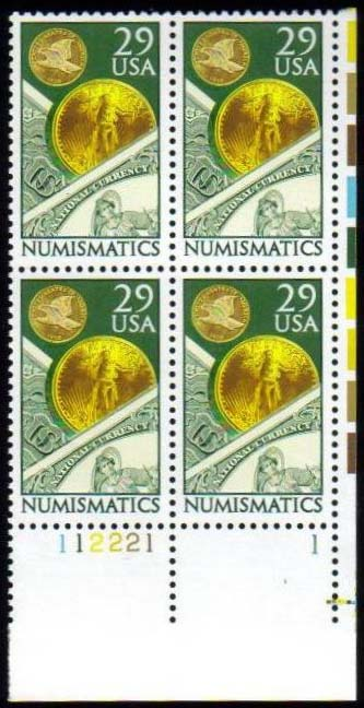 "Scott 2558 Plate Block (29 cents) <p> <a href=""/images/USA-Scott-2558-PB.jpg""><font color=green><b>View the image</a></b></font>"