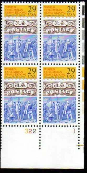 "Scott 2616 Plate Block (29 cents) <p> <a href=""/images/USA-Scott-2616-PB.jpg""><font color=green><b>View the image</a></b></font>"