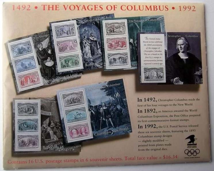 "Scott 2624-2629 The Voyages of Columbus, 6 mini sheets in the original packing (Face 16.34) <p> <a href=""/images/USA-Scott-2624-2629-Sheet.jpg""><font color=green><b>View the image</a></b></font>"