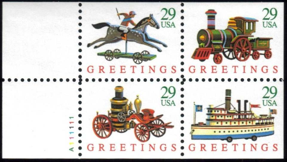 "Scott 2715-2718a Booklet pane of 4, (29 cents)  <p> <a href=""/images/USA-Scott-2718a.jpg""><font color=green><b>View the image</a></b></font>"