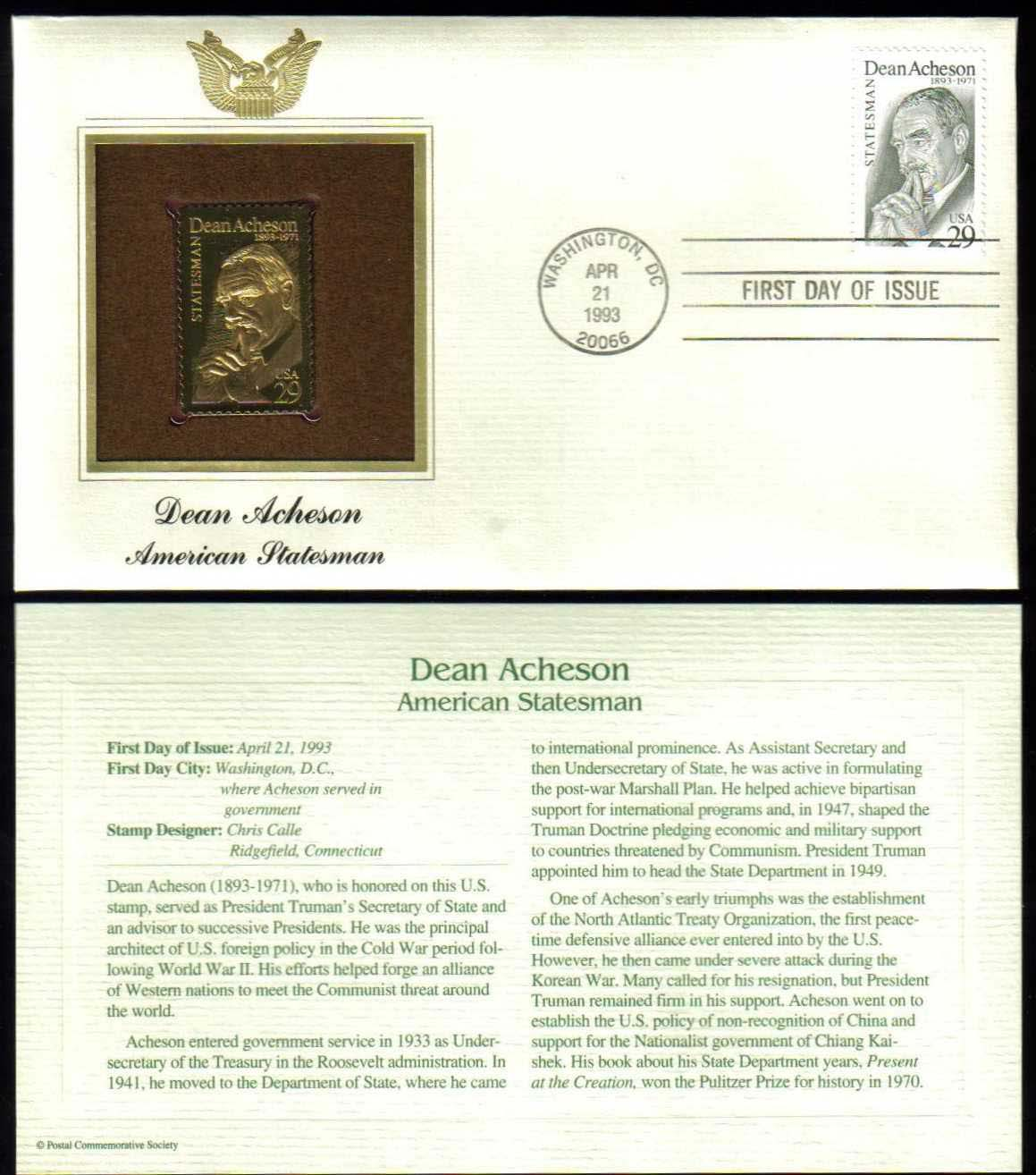 "Scott 2755 Golden Replica (22Kt) unaddressed FDC, <p> <a href=""/images/USA-Scott-2755-Gold.jpg""><font color=green><b>View the image</a></b></font>"