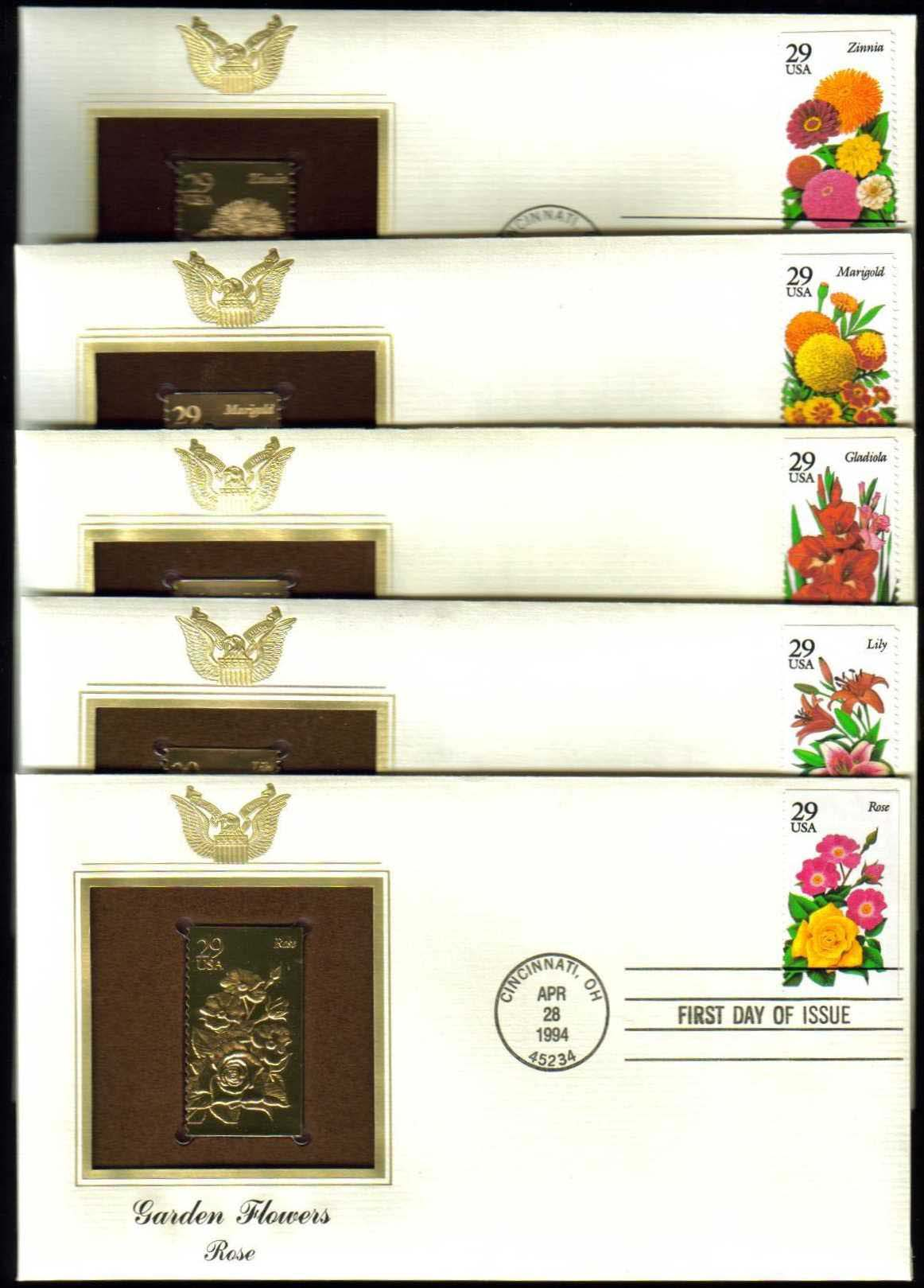 "Scott 2829-2833 Golden Replica (22Kt) unaddressed FDC, set of 5 <p> <a href=""/images/USA-Scott-2829-2833-Gold.jpg""><font color=green><b>View the image</a></b></font>"