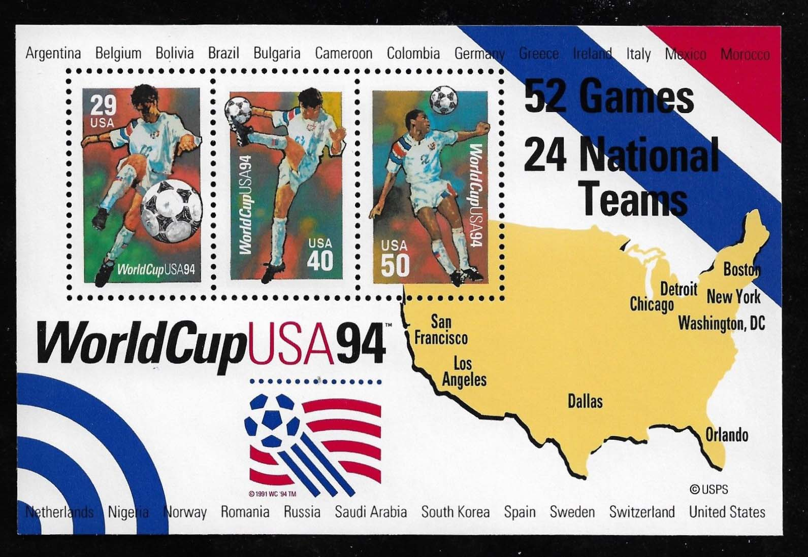 "Scott 2837 World Soccer Cup, Souvenir Sheet (Face 1.19) <p> <a href=""/images/USA-Scott-2837-Sheet.jpg""><font color=green><b>View the image</a></b></font>"