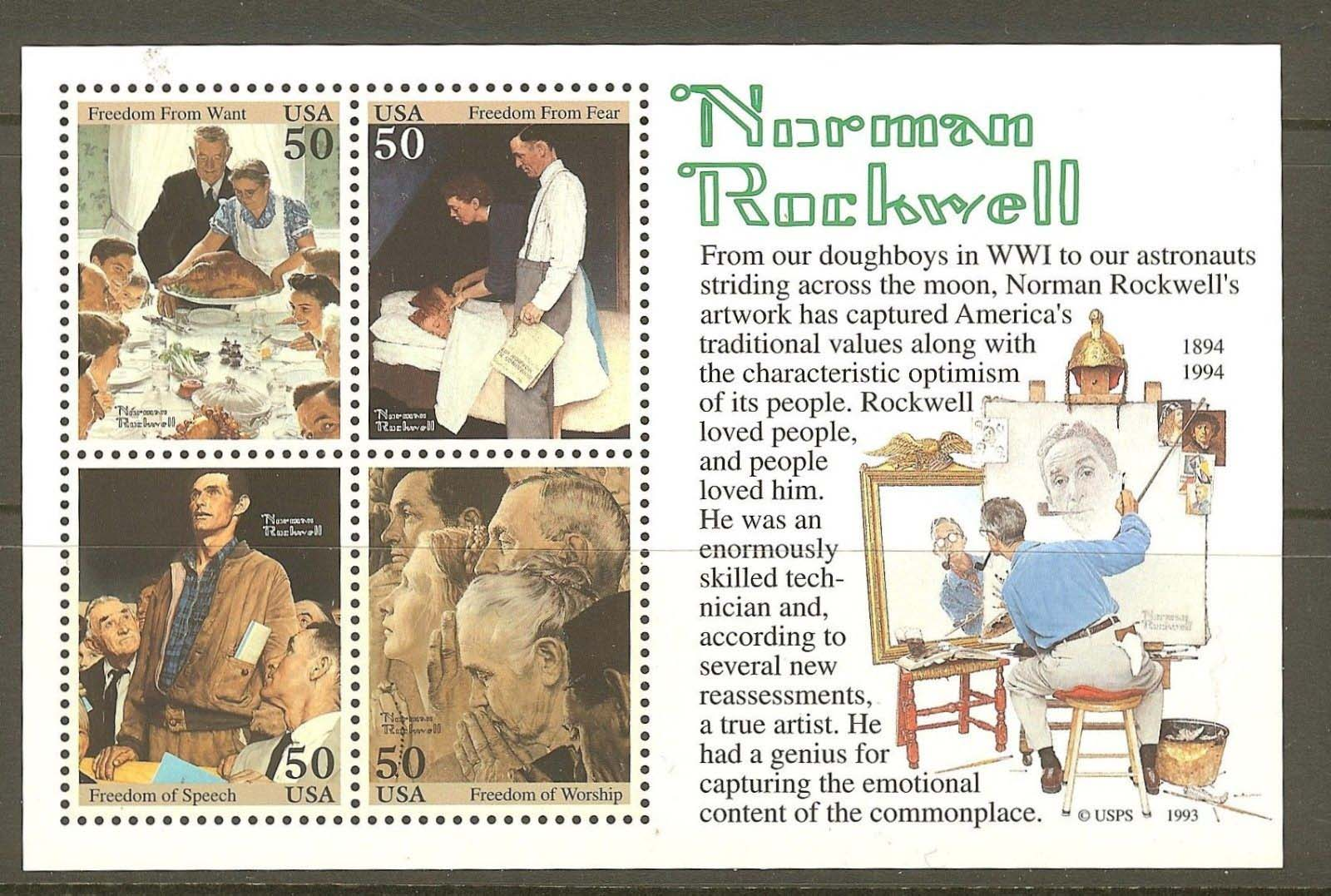 "Scott 2840 Norman Rockwell, Souvenir Sheet (Face 2.00) <p> <a href=""/images/USA-Scott-2840-PB.jpg""><font color=green><b>View the image</a></b></font>"
