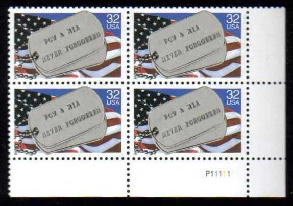 "Scott 2966 Plate Block of 4 (32 cents) <p> <a href=""/images/USA-Scott-2966-PB.jpg""><font color=green><b>View the image</a></b></font>"