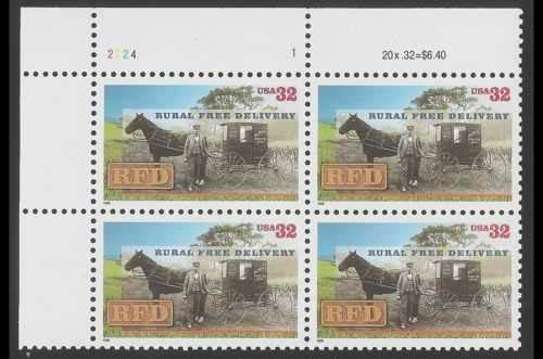 "Scott 3090 Plate Block of 4 (32 cents) <p> <a href=""/images/USA-Scott-3090-PB.jpg""><font color=green><b>View the image</a></b></font>"