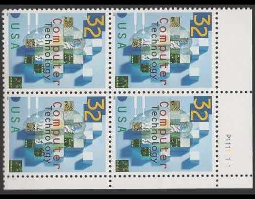 "Scott 3106 Plate Block of 4 (32 cents) <p> <a href=""/images/USA-Scott-3106-PB.jpg""><font color=green><b>View the image</a></b></font>"