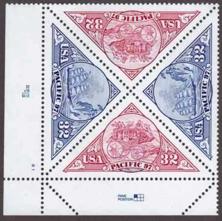 "Scott 3130-3131 Plate Block of 4 (32 cents) <p> <a href=""/images/USA-Scott-3130-3131-PB.jpg""><font color=green><b>View the image</a></b></font>"