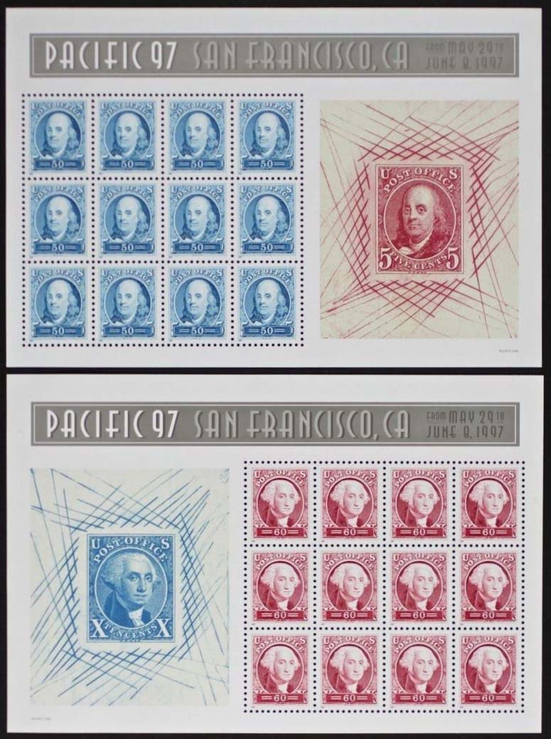 "Scott 3139-3140,  Pacific 97, Washington and Franklin, two sheets (Face $13.20) <p> <a href=""/images/USA-Scott-3139-3140-Sheet.jpg""><font color=green><b>View the image</a></b></font>"