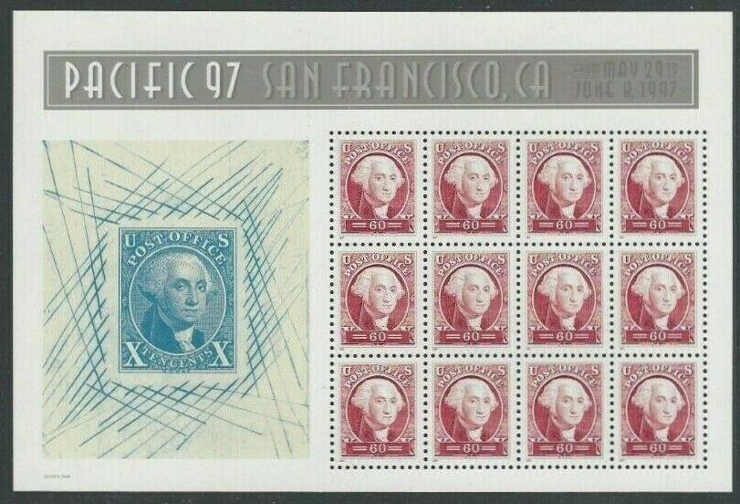"Scott 3140,  Pacific 97, George Washington, sheet of 12 (Face $7.20) <p> <a href=""/images/USA-Scott-3140-Sheet.jpg""><font color=green><b>View the image</a></b></font>"