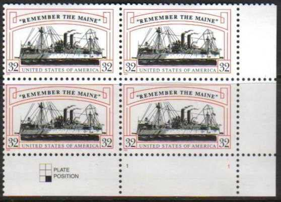"Scott 3192 Plate Block of 4 (32 cents) <p> <a href=""/images/USA-Scott-3192-PB.jpg""><font color=green><b>View the image</a></b></font>"