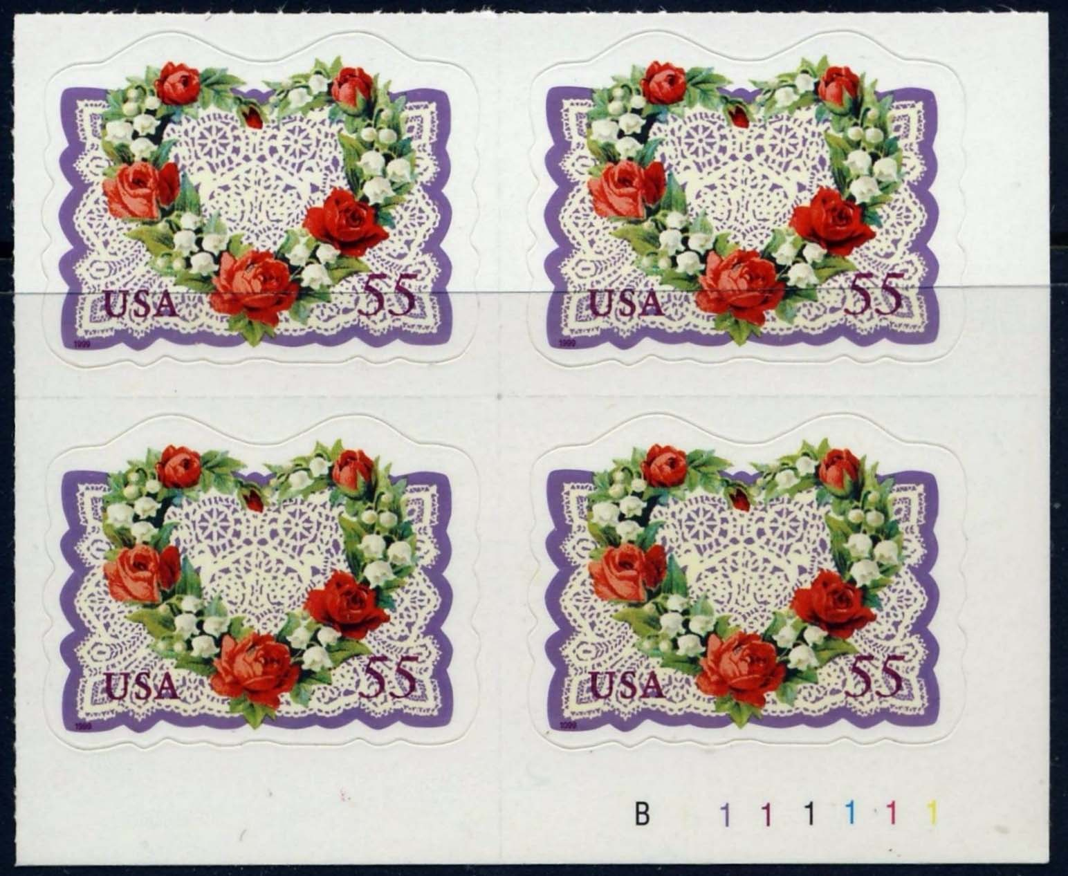"Scott 3275 Plate Block of 4 (55 cents) <p> <a href=""/images/USA-Scott-3275-PB.jpg""><font color=green><b>View the image</a></b></font>"
