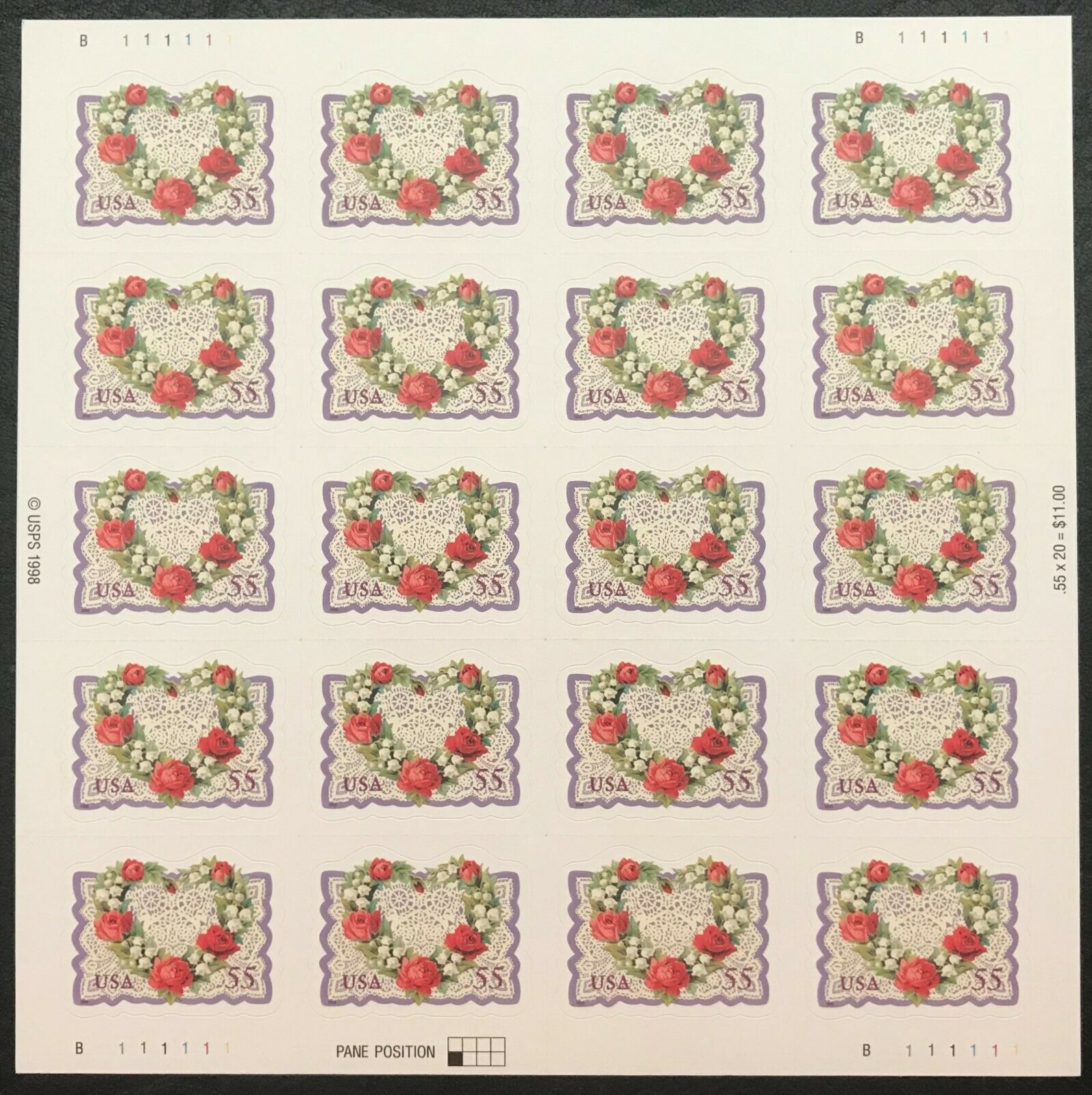 "Scott 3275, Pane of 20 (55 cents) <p> <a href=""/images/USA-Scott-3275-Sheet.jpg""><font color=green><b>View the image</a></b></font>"