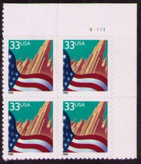 "Scott 3278 Plate Block (33 cents) <p> <a href=""/images/USA-Scott-3278-PB.jpg""><font color=green><b>View the image</a></b></font>"