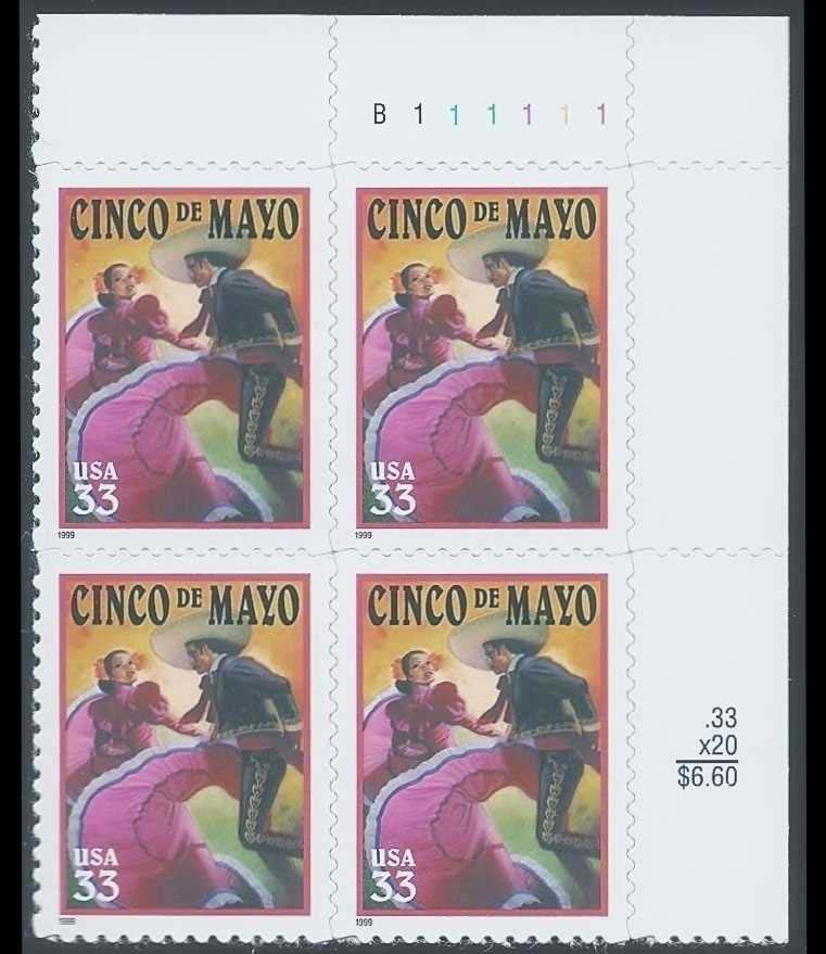 "Scott 3309 Plate Block (33 cents) <p> <a href=""/images/USA-Scott-3309-PB.jpg""><font color=green><b>View the image</a></b></font>"