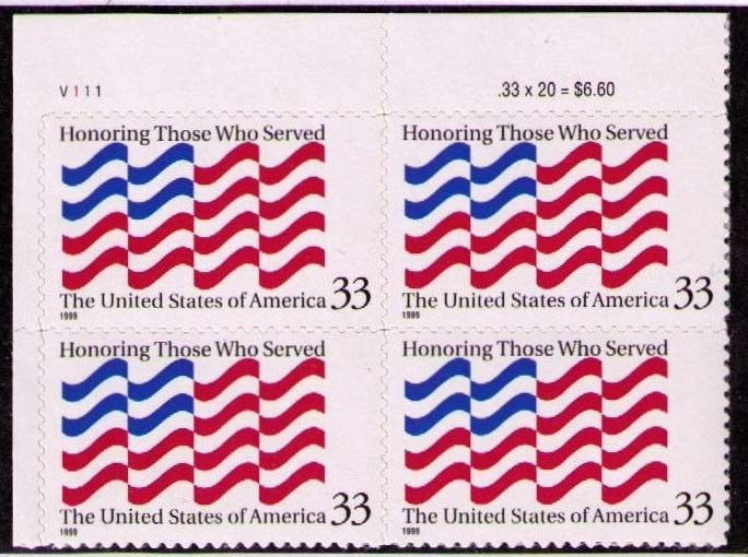 "Scott 3331 Plate Block (33 cents) <p> <a href=""/images/USA-Scott-3331-PB.jpg""><font color=green><b>View the image</a></b></font>"