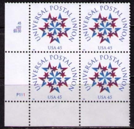 "Scott 3332 Plate Block of 4 (45 cents) <p> <a href=""/images/USA-Scott-3332-PB.jpg""><font color=green><b>View the image</a></b></font>"