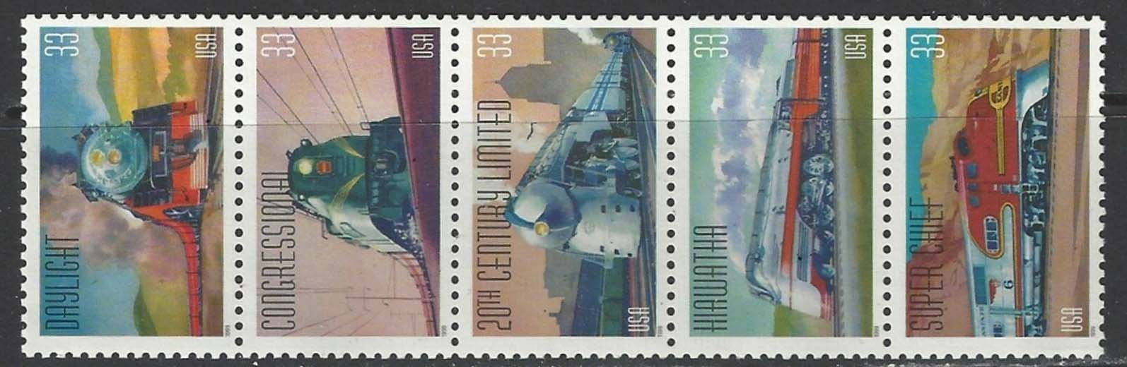 "Scott 3333-3337 Strip of 5 (33 cents) <p> <a href=""/images/USA-Scott-3333-3337-(5).jpg""><font color=green><b>View the image</a></b></font>"