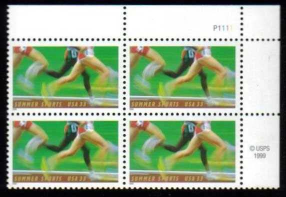 "Scott 3397 Plate Block (33 cents) <p> <a href=""/images/USA-Scott-3397-PB.jpg""><font color=green><b>View the image</a></b></font>"