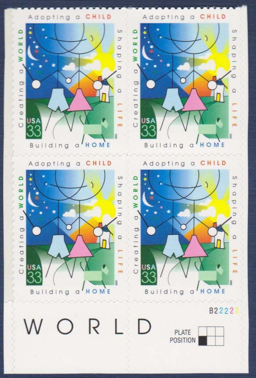 "Scott 3398 Plate Block (33 cents) <p> <a href=""/images/USA-Scott-3398-PB.jpg""><font color=green><b>View the image</a></b></font>"