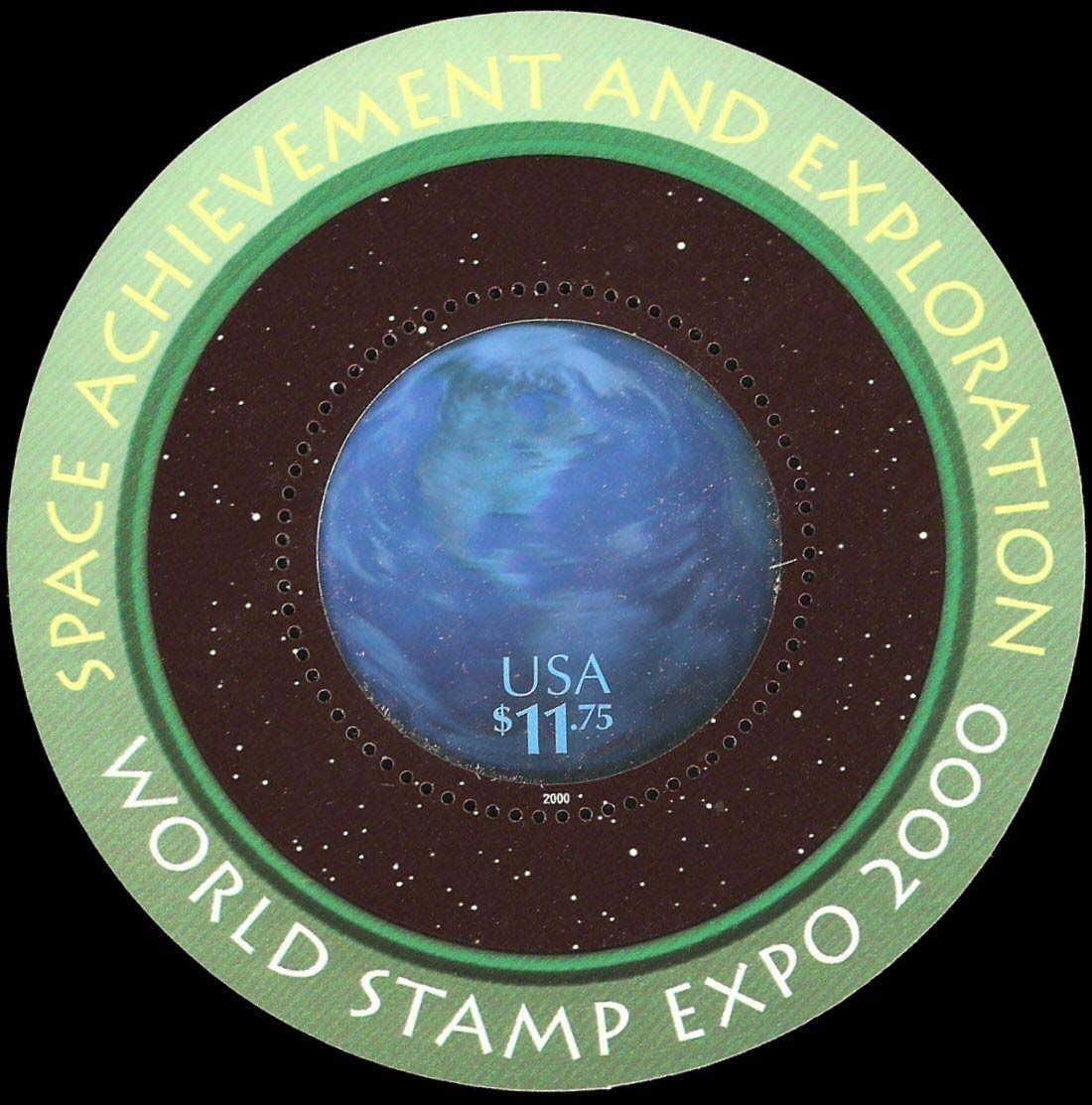 "Scott 3412 Space Exploration, circular holographic stamp, Sheet (Face 11.75) <p> <a href=""/images/USA-Scott-3412-Sheet.jpg""><font color=green><b>View the image</a></b></font>"