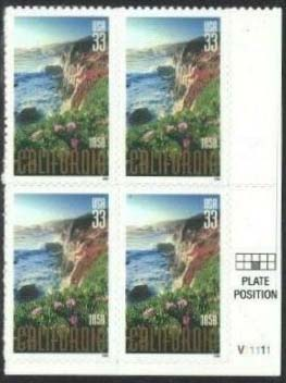 "Scott 3438 Plate Block (33 cents) <p> <a href=""/images/USA-Scott-3438-PB.jpg""><font color=green><b>View the image</a></b></font>"