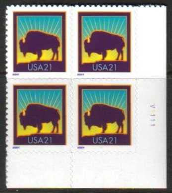"Scott 3468 Plate Block ""V"" (21 cents) <p> <a href=""/images/USA-Scott-3484-PB.jpg""><font color=green><b>View the image</a></b></font>"