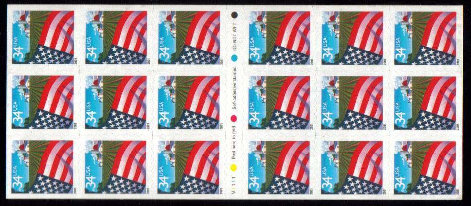 "Scott 3495a, Booklet pane of 18 (34 cents) <p> <a href=""/images/USA-Scott-3495a.jpg""><font color=green><b>View the image</a></b></font>"