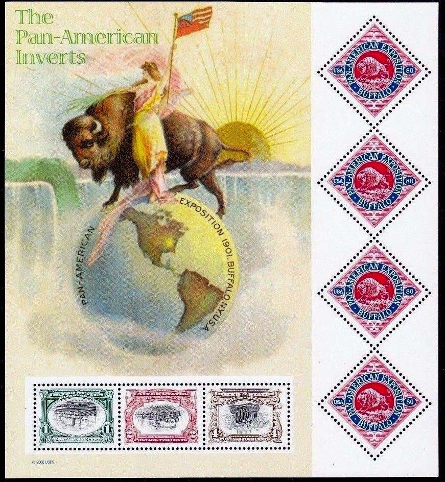 "Scott 3505 Pan-American Inverts, sheet of 7 stamps (Face 3.27) <p> <a href=""/images/USA-Scott-3505-Sheet.jpg""><font color=green><b>View the image</a></b></font>"