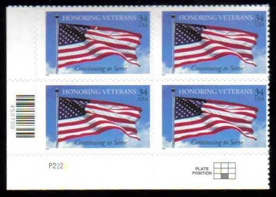 "Scott 3508 Plate Block (34 cents) <p> <a href=""/images/USA-Scott-3508-PB.jpg""><font color=green><b>View the image</a></b></font>"