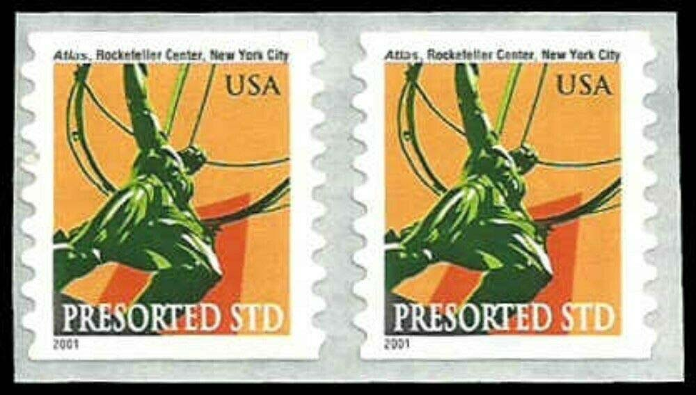 "Scott 3520 Coil stamp, pair (10 cents) <p> <a href=""/images/USA-Scott-3520-Pair.jpg""><font color=green><b>View the image</a></b></font>"