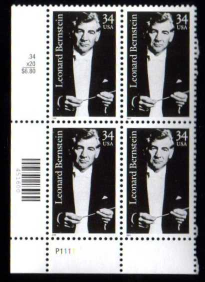 "Scott 3521 Plate Block (34 cents) <p> <a href=""/images/USA-Scott-3521-PB.jpg""><font color=green><b>View the image</a></b></font>"