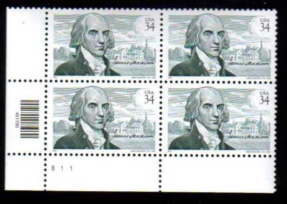 "Scott 3545 Plate Block (34 cents) <p> <a href=""/images/USA-Scott-3545-PB.jpg""><font color=green><b>View the image</a></b></font>"