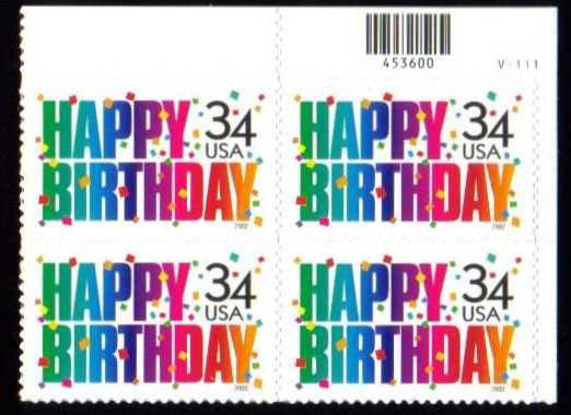 "Scott 3558 Plate Block (34 cents) <p> <a href=""/images/USA-Scott-3558-PB.jpg""><font color=green><b>View the image</a></b></font>"