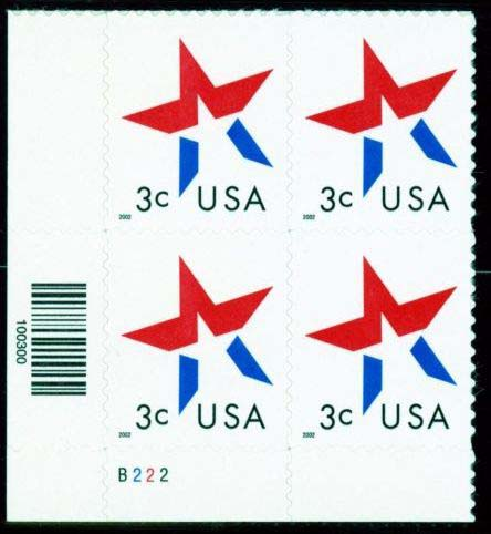 "Scott 3613 Plate block, Date is lower left (3 cents) <p> <a href=""/images/USA-Scott-3613-PB.jpg""><font color=green><b>View the image</a></b></font>"