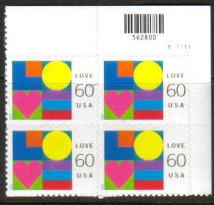 "Scott 3658 Plate Block (60 cents) <p> <a href=""/images/USA-Scott-3658-PB.jpg""><font color=green><b>View the image</a></b></font>"
