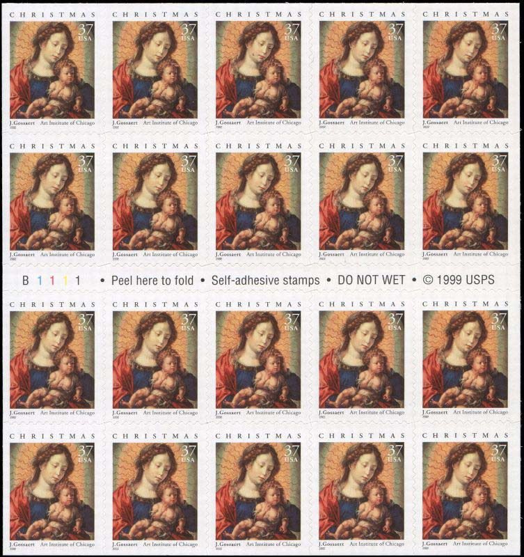 "Scott 3675a, Pane of 20 (37 cents) <p> <font color=red> For the same stamp in double side format see #3820 <p> </font> <a href=""/images/USA-Scott-3675a-Sheet.jpg""><font color=green><b>View the image</a></b></font>"