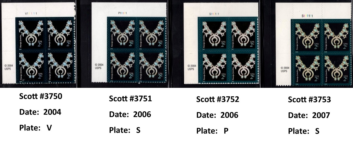 "Scott 3750 Plate Block (2 cents), <font color=red> 2004 date, Plate is V+5 numbers </font> <p> <a href=""/images/USA-Scott-3750-3753-PB.jpg""><font color=green><b>View the image</a></b></font>"