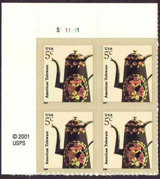 "Scott 3756 Plate Block (5 cents), Date is 2004 <p> <a href=""/images/USA-Scott-3756-PB.jpg""><font color=green><b>View the image</a></b></font>"