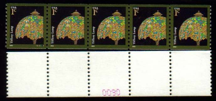 "Scott 3758, Strip of 5 with Plate on back, MNH (1 cents) (516) <p> <a href=""/images/USA-Scott-3758(516).jpg""><font color=green><b>View the image</a></b></font>"