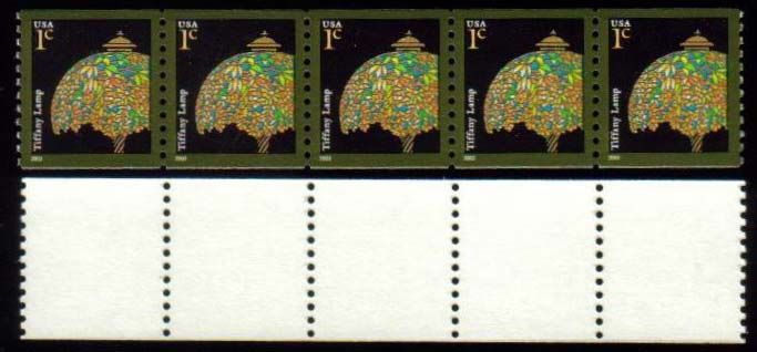"Scott 3758, Strip of 5 without Plate on back, MNH (1 cents) (518) <p> <a href=""/images/USA-Scott-3758(518).jpg""><font color=green><b>View the image</a></b></font>"