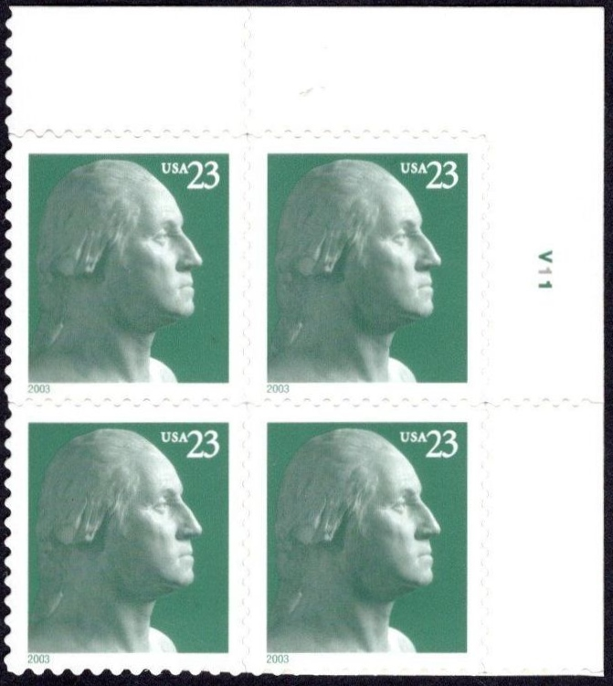 "Scott 3819 Plate Block (23 cents) <p> <a href=""/images/USA-Scott-3819-PB.jpg""><font color=green><b>View the image</a></b></font>"