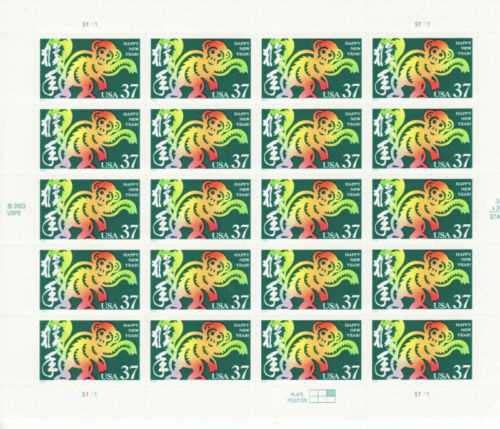 "Scott 3832, Pane of 20 (37 cents) <p> <a href=""/images/USA-Scott-3832-Sheet.jpg""><font color=green><b>View the image</a></b></font>"