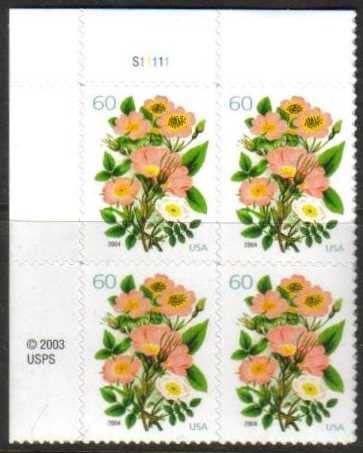 "Scott 3837 Plate Block (60 cents) <p> <a href=""/images/USA-Scott-3837-PB.jpg""><font color=green><b>View the image</a></b></font>"