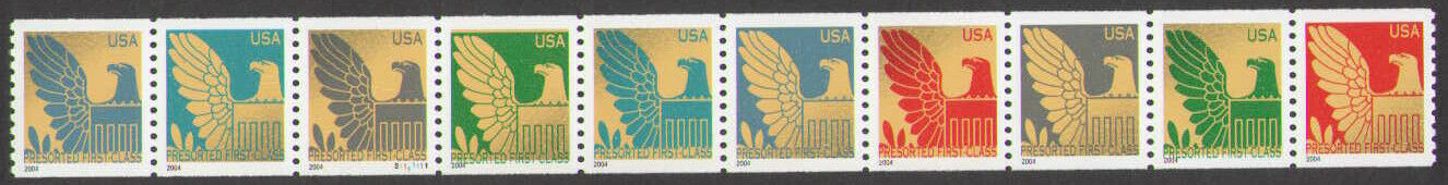 "Scott 3844-3853, Strip of 10 (25 cents) perforated Date is 2004, for other dates see #3792-3801 S/A (2003) and 3792d-3801d S/A (2005) <p> <a href=""/images/USA-Scott-3891-3894-Sheet(18).jpg""><font color=green><b>View the image</a></b></font>"