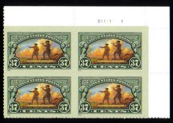 "Scott 3854 Plate Block (37 cents) <p> <a href=""/images/USA-Scott-3854-PB.jpg""><font color=green><b>View the image</a></b></font>"