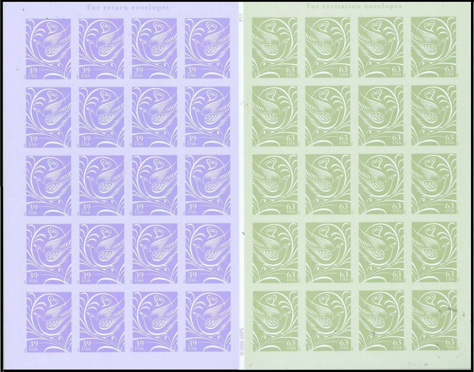 "Scott 3998-3999, Pane of 40 (39+63 cents) <p>Combo: Both denominations on one sheet <a href=""/images/USA-Scott-3998-3999-Sheet.jpg""><font color=green><b>View the image</a></b></font>"