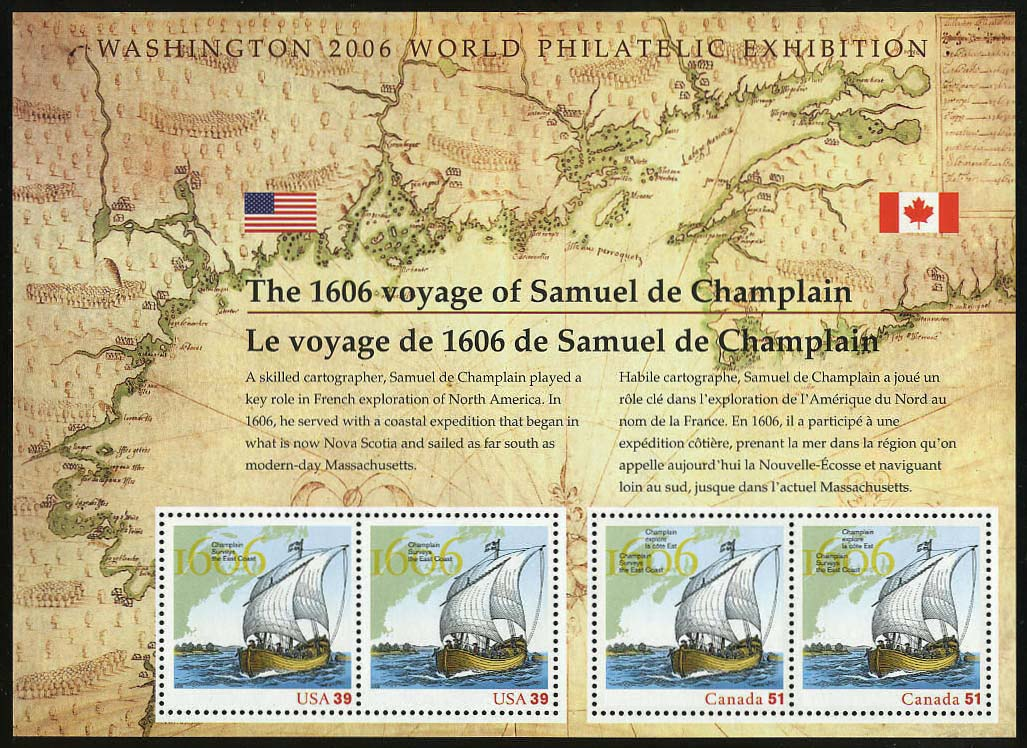 "Scott 4074 Samuel De Champlain S/S joint with Canada, Sheet of 4 (Face 1.80) <p> <a href=""/images/USA-Scott-4074-Sheet.jpg""><font color=green><b>View the image</a></b></font>"