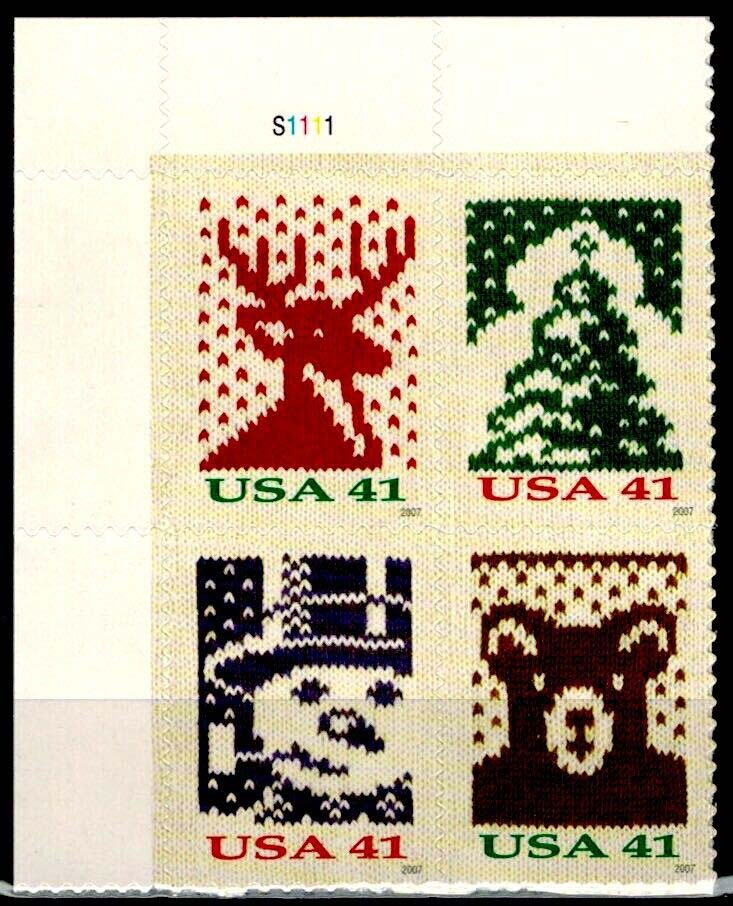 "Scott 4207-4210 Plate Block (41 cents) <p> <a href=""/images/USA-Scott-4207-4210-PB.jpg""><font color=green><b>View the image</a></b></font>"