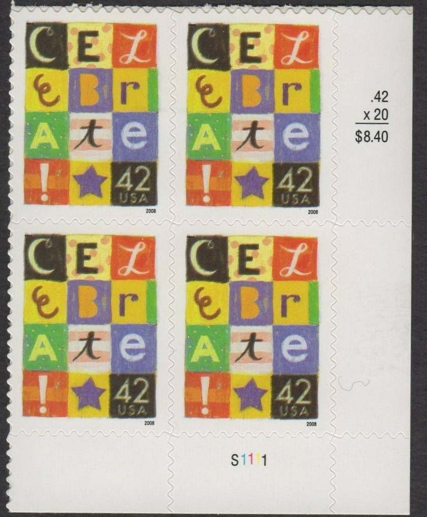 "Scott 4335 Plate Block (42 cents) See 4407 for 44 Cents<p> <a href=""/images/USA-Scott-4335-PB.jpg""><font color=green><b>View the image</a></b></font>"